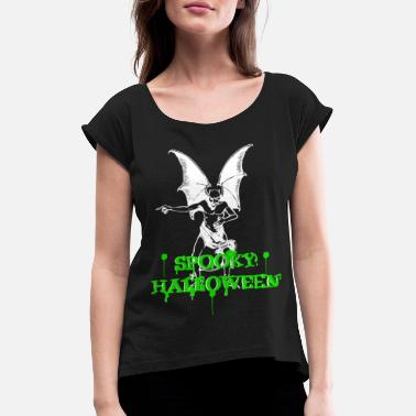 Move Devil with spooky nasty Halloween lettering - Women's Rolled Sleeve T-Shirt