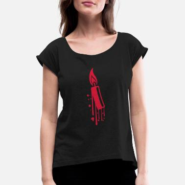 Flame Graffiti graffiti drops spray flame fire candle wax br - Women's T-Shirt with rolled up sleeves