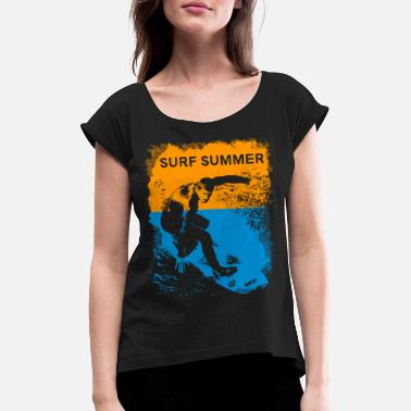 Retro vintage summer surfer distressed - Women's Rolled Sleeve T-Shirt
