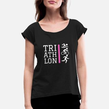 Triathlon Icons Design Pink - Women's Rolled Sleeve T-Shirt