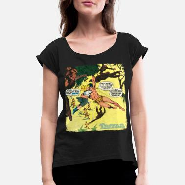 Tarzan Jane Old Comic Cover - Women's Rolled Sleeve T-Shirt