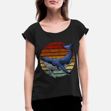 Retro vintage whale - Women's Rolled Sleeve T-Shirt