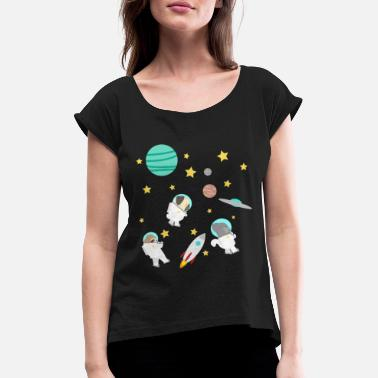 Rumfærge Universe Space Planet Astronaut gave - T-shirt med rulleærmer dame