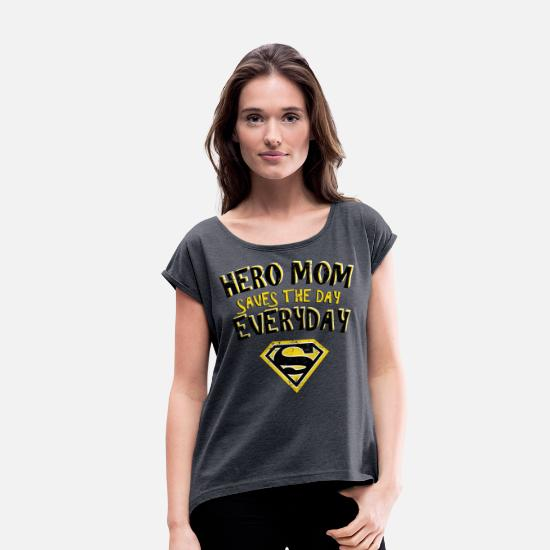Superman T-shirts - Superman Super Hero Mom - Vrouwen T-shirt met opgerolde mouwen navy gemêleerd