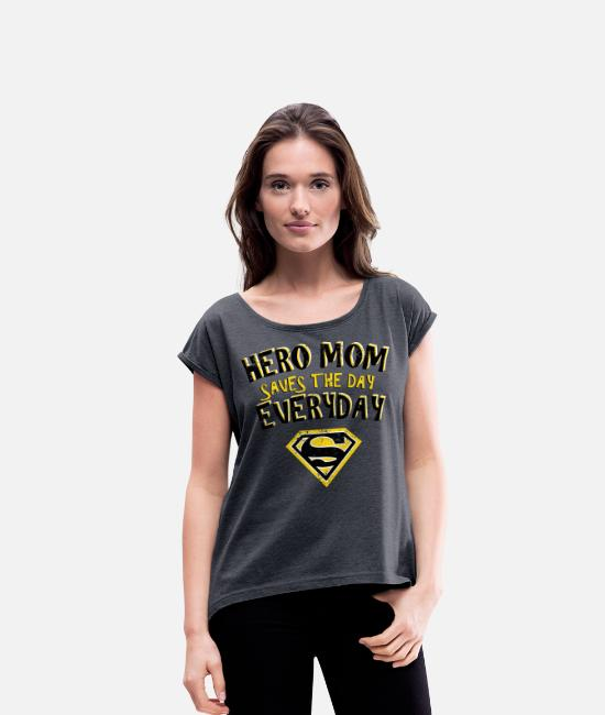 Superheld T-shirts - Superman Super Hero Mom - Vrouwen T-shirt met opgerolde mouwen navy gemêleerd