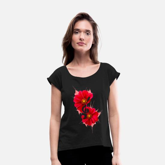 Love T-Shirts - DL - Design // Music of flowers - Women's Rolled Sleeve T-Shirt black