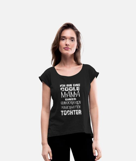 Mummy T-Shirts - Cool Mom Daughter Gift Idea Mother's Day - Women's Rolled Sleeve T-Shirt black