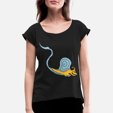 Slimy slimy trail slimy trail snail slimy - Women's Rolled Sleeve T-Shirt