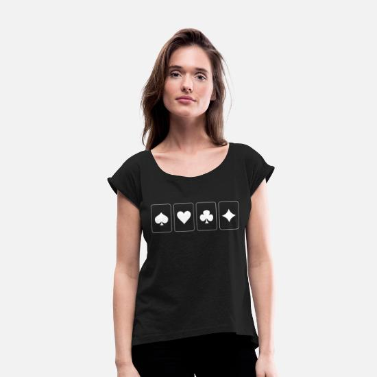 Poker T-Shirts - Ace of Hearts Check Pik Poker - Women's Rolled Sleeve T-Shirt black