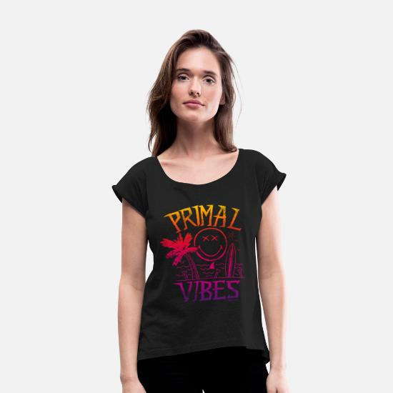 Shark Fin T-Shirts - SmileyWorld 'Primal Vibes' teenager t-shirt - Women's Rolled Sleeve T-Shirt black