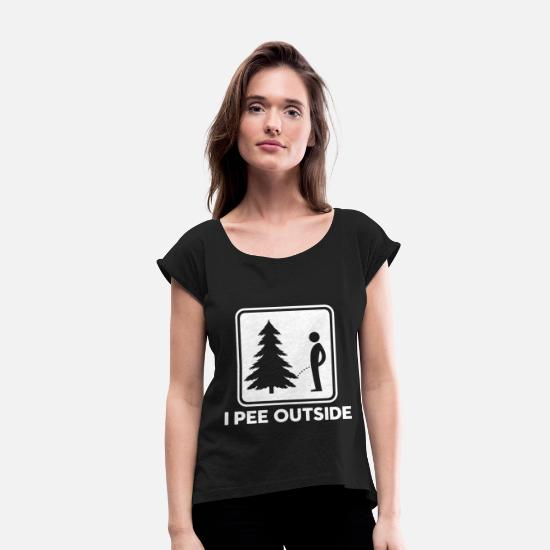 Tent T-Shirts - Funny Camping Survival Scout camping - Women's Rolled Sleeve T-Shirt black