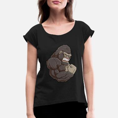Muscle Zoo Gorilla At The Gym - Training Fitness Muscles - Women's Rolled Sleeve T-Shirt