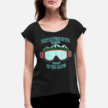 Winter Sports Snowboarding retro - Women's Rolled Sleeve T-Shirt