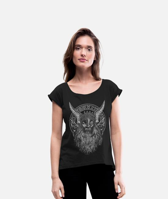 Viking T-Shirts - ODIN AND ITS RAVENS - Women's Rolled Sleeve T-Shirt black