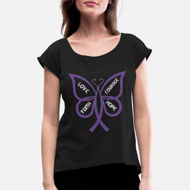 Fibromyalgia Lupus awareness butterfly Shirt - Women's Rolled Sleeve T-Shirt