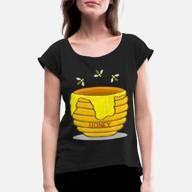 Honey Bee Honey Pot With Bees - Women's Rolled Sleeve T-Shirt