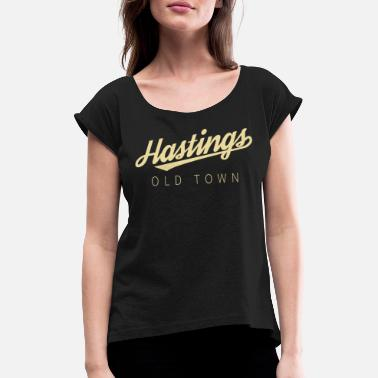 Hasting Old Town Calligraphy Swish - Women's Rolled Sleeve T-Shirt