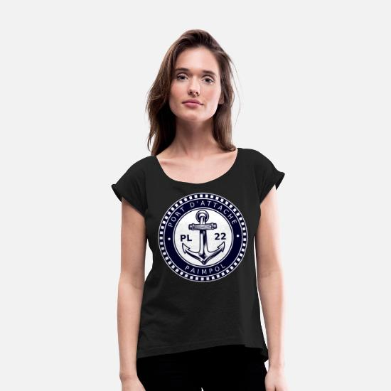 Harbour T-Shirts - Home port Paimpol PL 22 - Women's Rolled Sleeve T-Shirt black