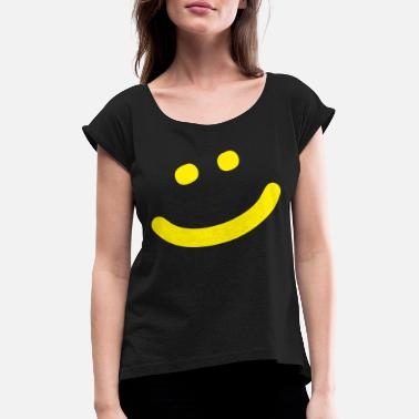 Yellow Face smiley - Women's Rolled Sleeve T-Shirt