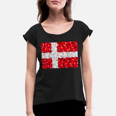 Denmark flag low poly style - Women's Rolled Sleeve T-Shirt