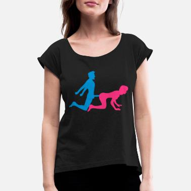 Girl woman female doggy style from behind 2 pairs paerch - Women's Rolled Sleeve T-Shirt