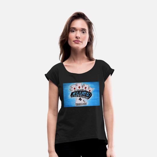 Blue Sky T-Shirts - BLUES HARMONICA A FLUSH OF BLUES - Women's Rolled Sleeve T-Shirt black