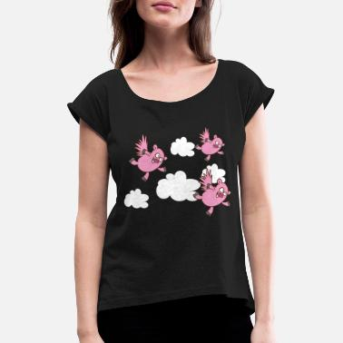 Flying Pig Flying pigs - Women's T-Shirt with rolled up sleeves