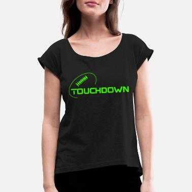New England Patriots Touchdown Ball - Women's Rolled Sleeve T-Shirt