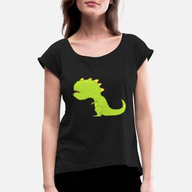 Dinosaurs Spike Cartoon Funny Small Arms T-Rex Dinosaur - Women's T-Shirt with rolled up sleeves