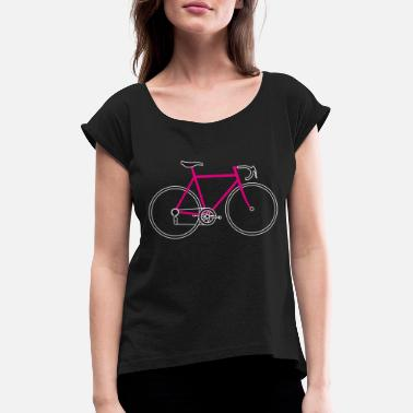 Road Bike Road bike bicycle pink - Women's Rolled Sleeve T-Shirt