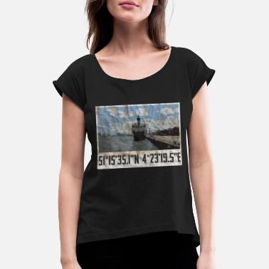 Port Port of Antwerp - Women's T-Shirt with rolled up sleeves