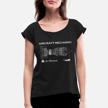Flight Data Recorder Aircraft Mechanic - Jet Engine - Women's Rolled Sleeve T-Shirt