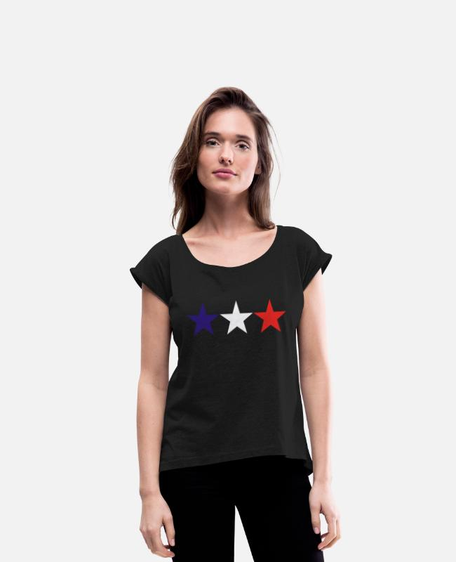 Frencg T-Shirts - french stars - Women's Rolled Sleeve T-Shirt black