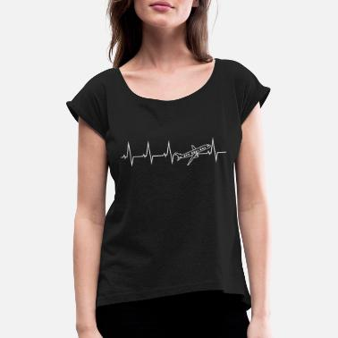 Airplane Airplane pilot heartbeat gift - Women's Rolled Sleeve T-Shirt