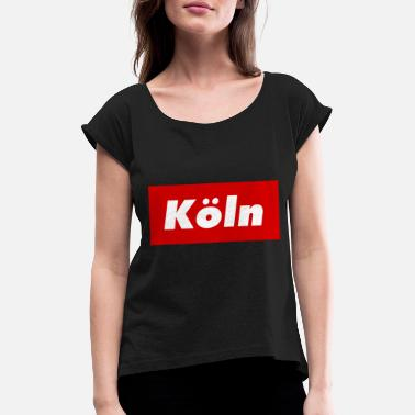 Nordrhein Cologne red box logo Kölner Kölle Kölsch NRW Dom red - Women's Rolled Sleeve T-Shirt