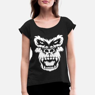 Roaring Gorilla Head - Women's Rolled Sleeve T-Shirt