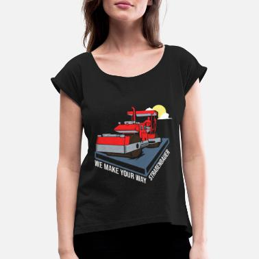 Road Construction Road builder road construction - Women's Rolled Sleeve T-Shirt
