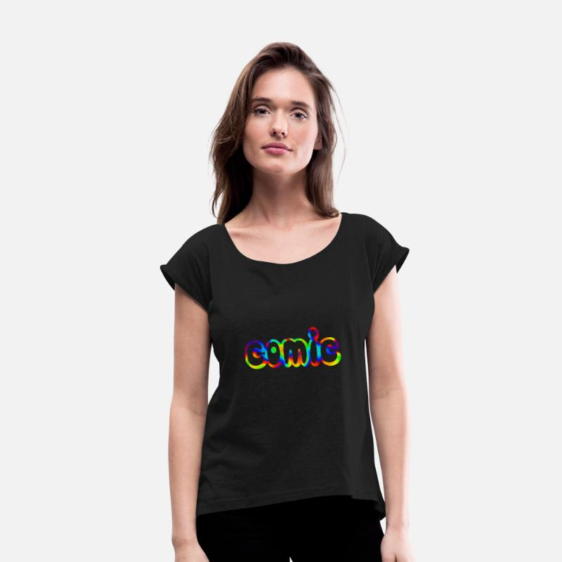 Cool T-Shirts - comic - Women's Rolled Sleeve T-Shirt black