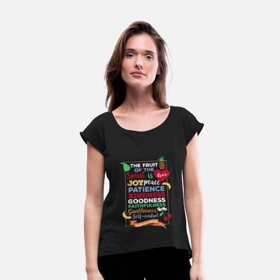 Spirit T-Shirts - Christian T-shirt Galatians 5:22-23 - Fruit of the - Women's Rolled Sleeve T-Shirt black