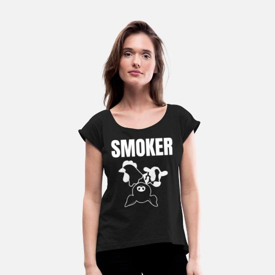 Bbq Season T-Shirts - Pitmaster BBQ Barbecue food grill Put my meat in your mouth and swallow chicken - Women's Rolled Sleeve T-Shirt black