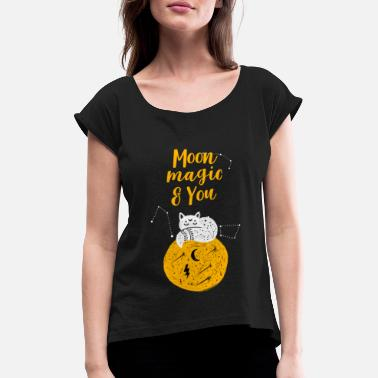 Fortune Telling Halloween Moon Magic and you - Women's Rolled Sleeve T-Shirt