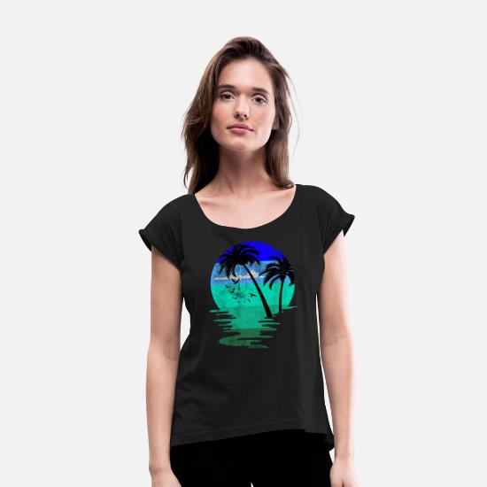 Gift Idea T-Shirts - Beach beach - Women's Rolled Sleeve T-Shirt black