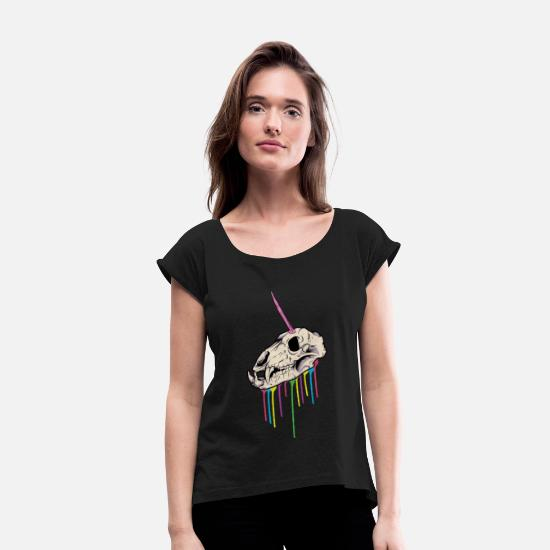 Gyserfilm T-shirts - Horror Halloween unicorn skelet | gave - T-shirt med rulleærmer dame sort