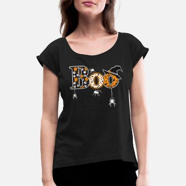 Pumpkin Boo Halloween print With Spiders And Witch Hat - Women's Rolled Sleeve T-Shirt