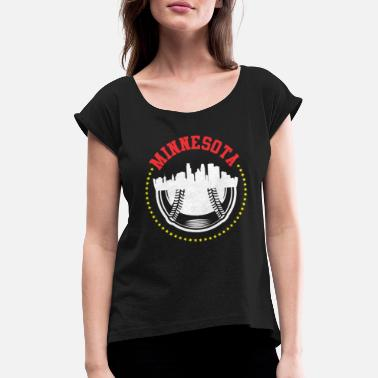 Stp Vintage MPLS STP Minnesota Cityscape Baseball - Women's T-Shirt with rolled up sleeves