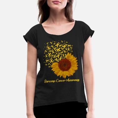 Yellow Ribbon Sarcoma Cancer Awareness Yellow Ribbon Sunflower - Women's Rolled Sleeve T-Shirt