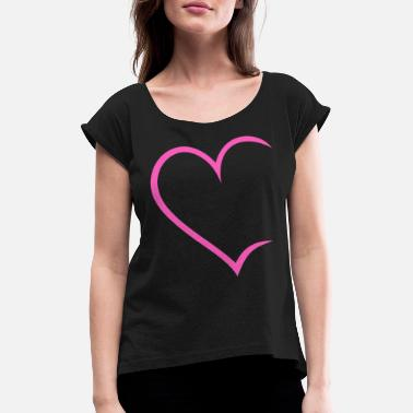 Write Heart open pink Love Heart Love Couples In love - Women's T-Shirt with rolled up sleeves
