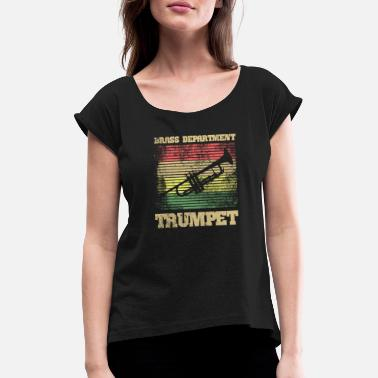 Reggae Colors trumpet with reggae colors - Women's T-Shirt with rolled up sleeves
