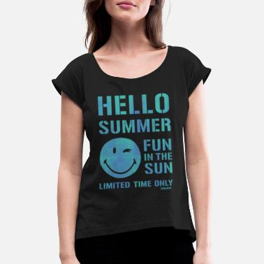 Officialbrands SmileyWorld 'Hallo Summer' teenager t-shirt - Women's Rolled Sleeve T-Shirt