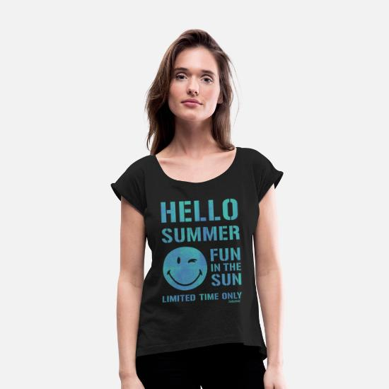 cool T-Shirts - SmileyWorld 'Hallo Summer' teenager t-shirt - Women's Rolled Sleeve T-Shirt black